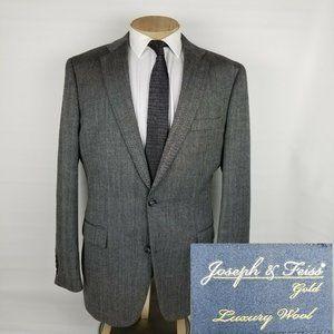 Joseph Feiss Gold Mens Sport Coat 44L Gray Luxury